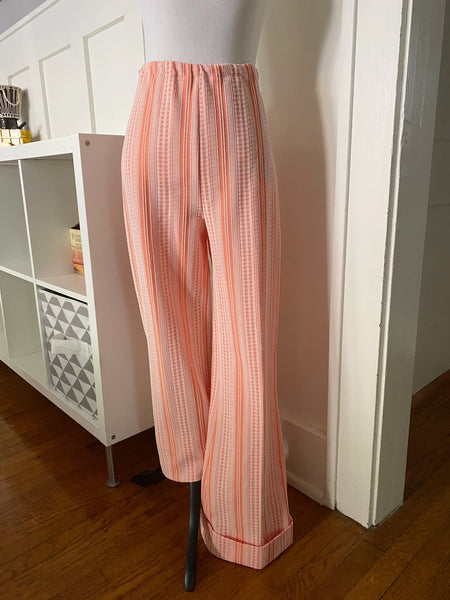 Peach Textured Short Sleeve Top & Wide Leg Pant Set - Size S/M