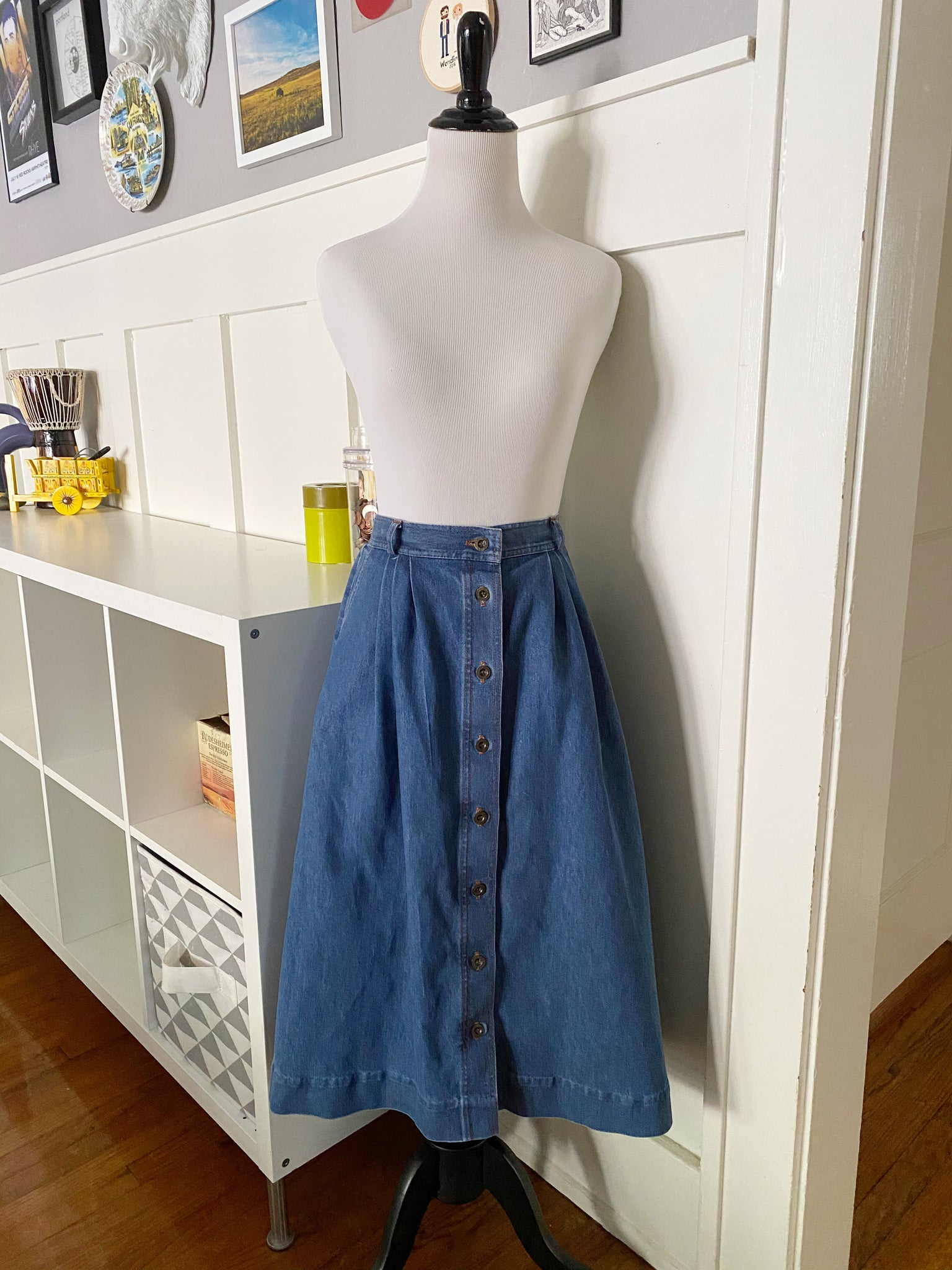 Button Front Denim Skirt - Size S