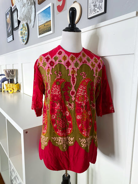 Short Sleeve Top w/ Paisley Print and Scalloped Hem - Size S/M