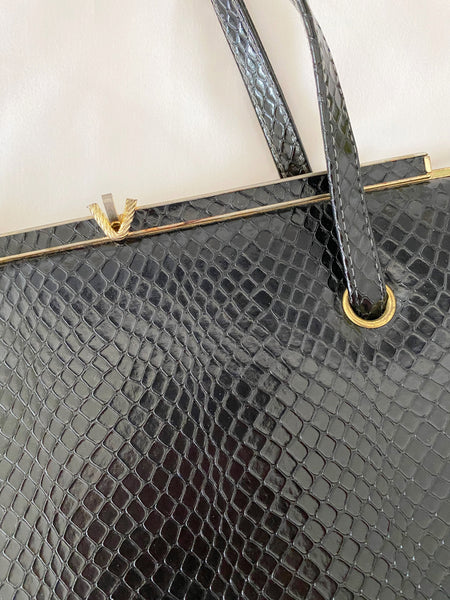 Black Faux Snakeskin Purse w/ Gold Clasp
