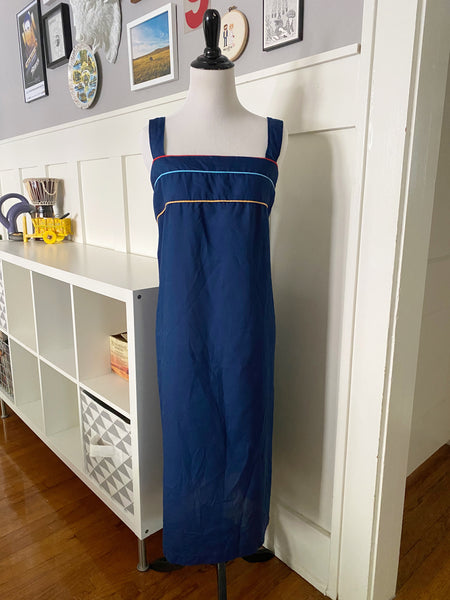 Navy Tank Dress w/ Colorful Binding - Size XL
