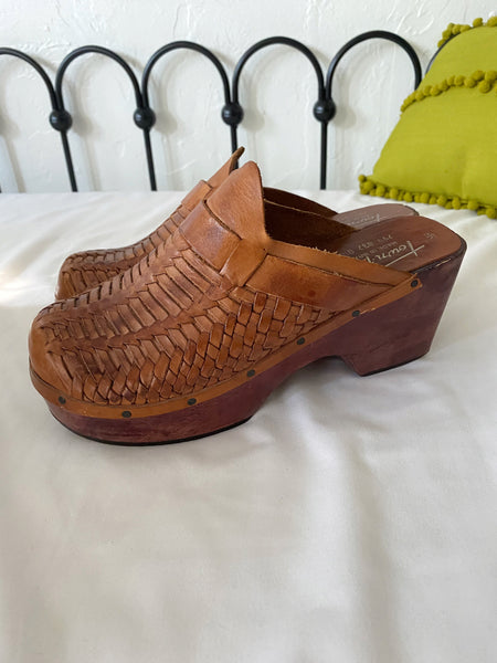 Braided Leather Wooden Clogs - Size 8
