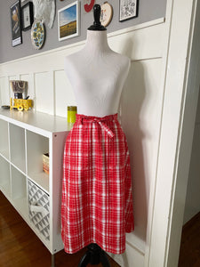 Red & White Plaid Wrap Skirt - Size S/M