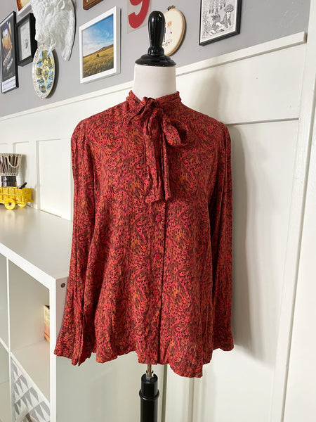 Long Sleeve Red Retro Swirl Print Bow Blouse - Size M