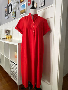 Red Short Sleeve Shift Dress w/ Removable Belt - Size M/L/XL
