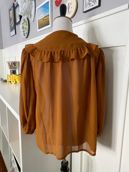 Rust Sheer Open Front Blouse w/ Ruffle Collar - Size M/L