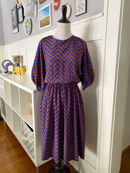 Rust & Blue Chevron Dress - Size M/L