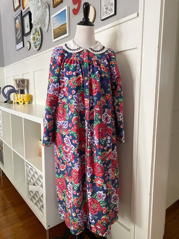 Navy Floral Housedress - Size OS