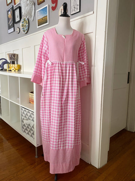 Pink Gingham Housedress - Size OS