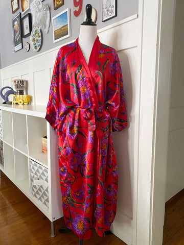 Red Robe w/ Purple Floral - Size OS
