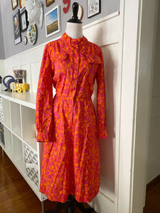 Handmade Pink & Orange Abstract Print Dress - Size M