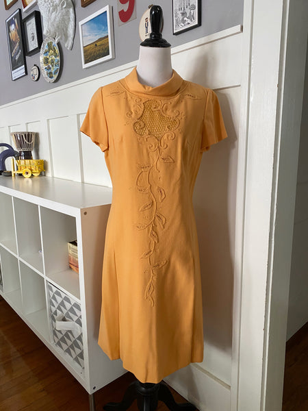 Orange Sherbet Shift Dress w/ Lace Inset - Size S