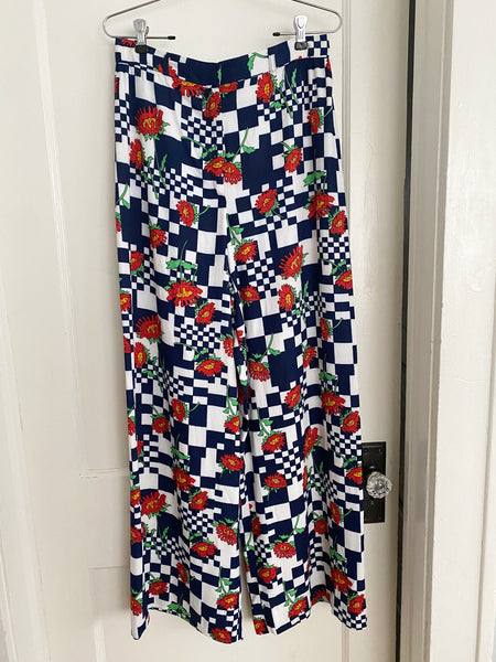 Floral & Navy Checkerboard Wide Leg Pants - Size M/L