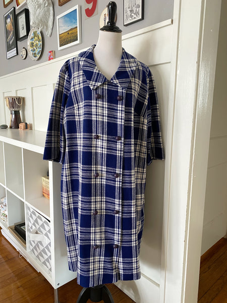 Navy Plaid Swing Coat - Size M/L