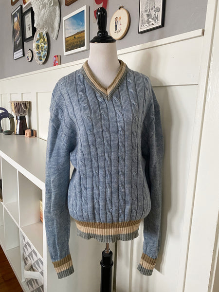 Light Blue V-Neck Sweater - Size S/M