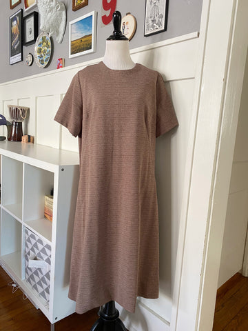 Brown Short Sleeve Textured Shift - Size L