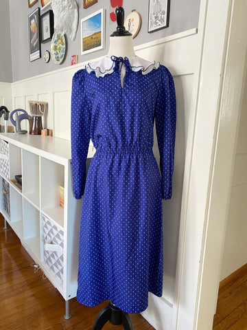 Navy Printed Dress w/ Collar - Size S