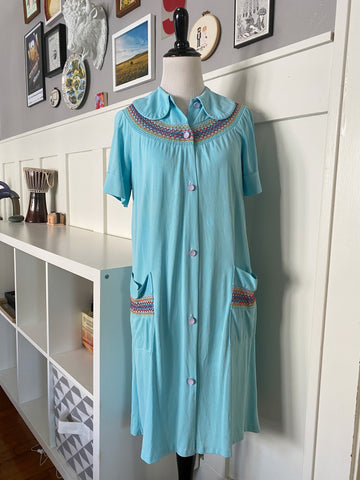 Blue Housedress w/ Rainbow Stitching - Size S/M