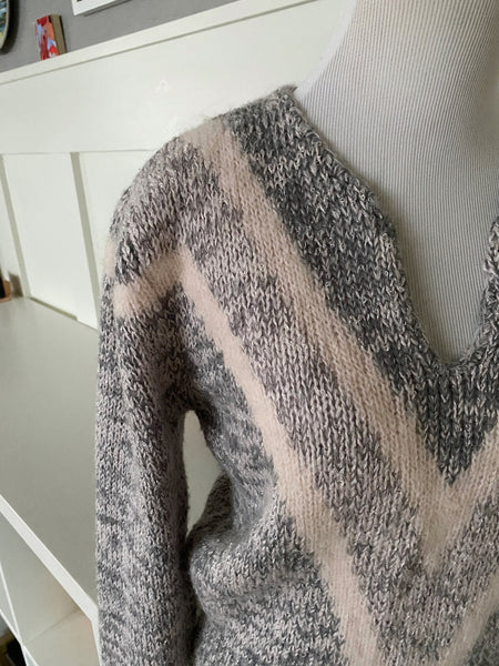 Gray V-Neck Sweater - Size S