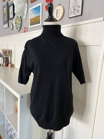 Black Short Sleeve Turtleneck - Size S/M