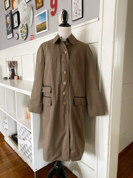 Brown & Tan Houndstooth Overcoat - Size M