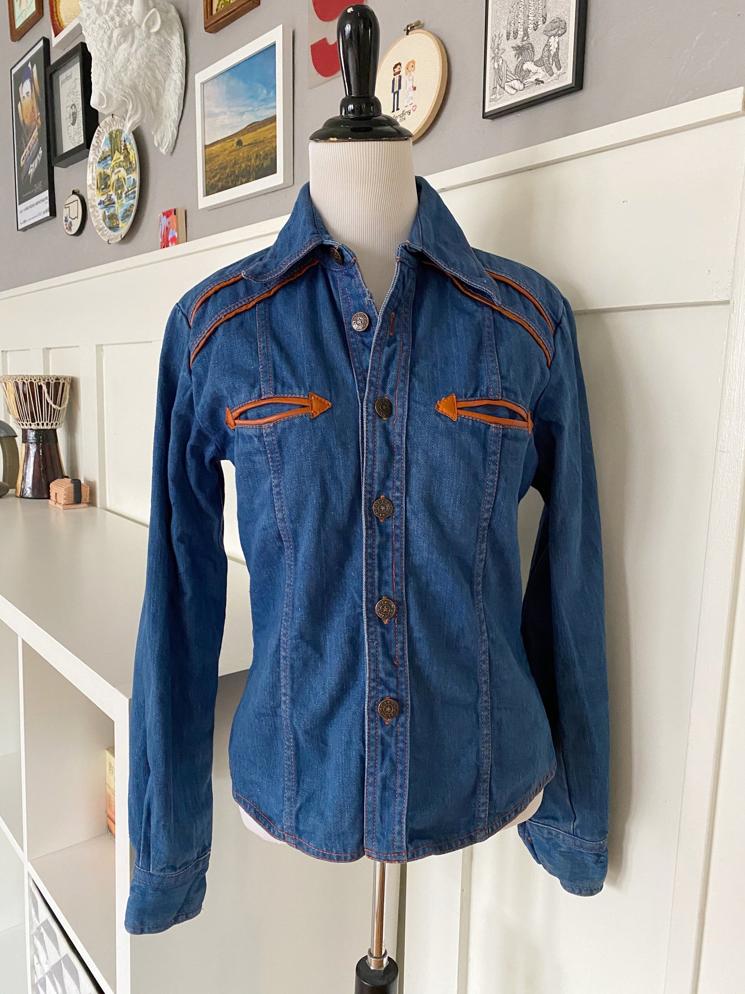 70s Western Denim Jacket - Size XS
