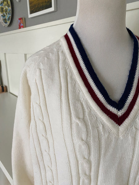 White V-Neck Sweater w/ Red & Blue Stripes - Size M