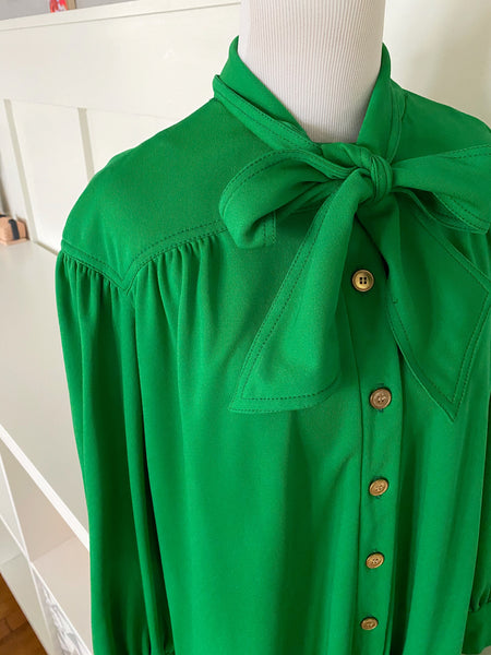 Long Sleeve Green Bow Dress - Size M/L