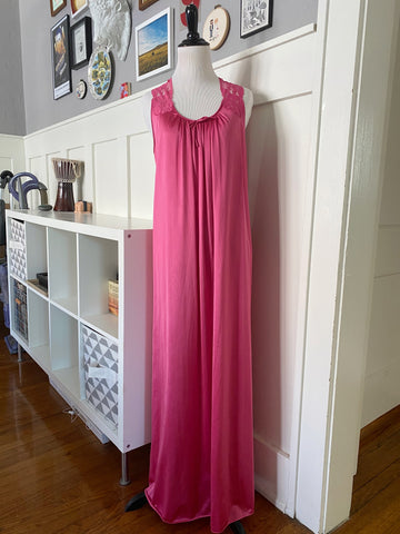 Hot Pink Nightgown w/ Floral Lace - Size S/M