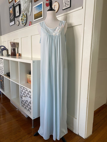 Pale Blue Nightgown w/ Floral Applique - Size S/M