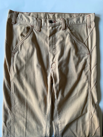 Khaki Bellbottoms w/ Side Detail - Size 34
