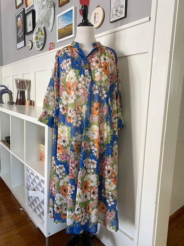 Blue and Floral Housedress - Size OS
