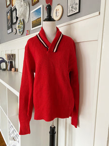 Red Shawl Neck Sweater - Size M/L