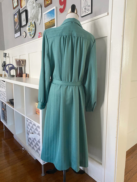 Green Striped Long Sleeve Dress - Size L/XL