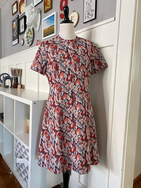 Red + White + Navy Printed Shift Dress - Size M/L