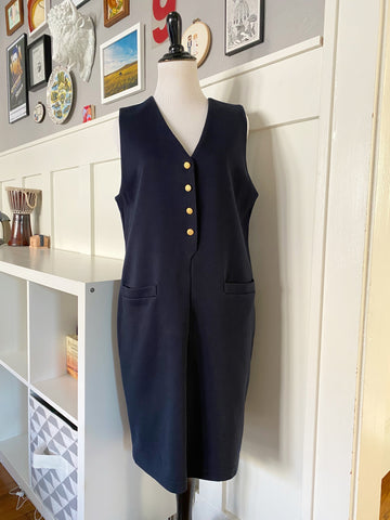 Navy Sleeveless Jumper - Size S