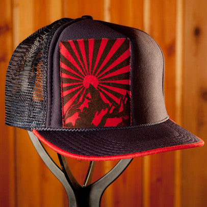 Navy Blue Trucker- Rising Sun Print