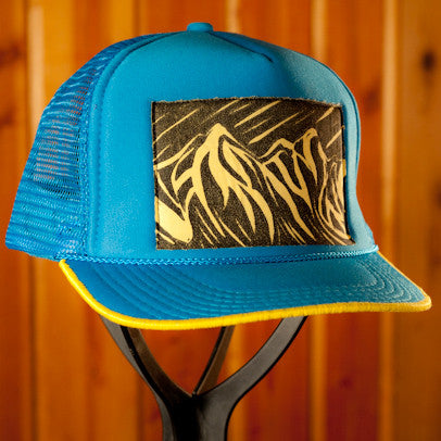 Bright Blue Trucker- Peaks & Curves Print