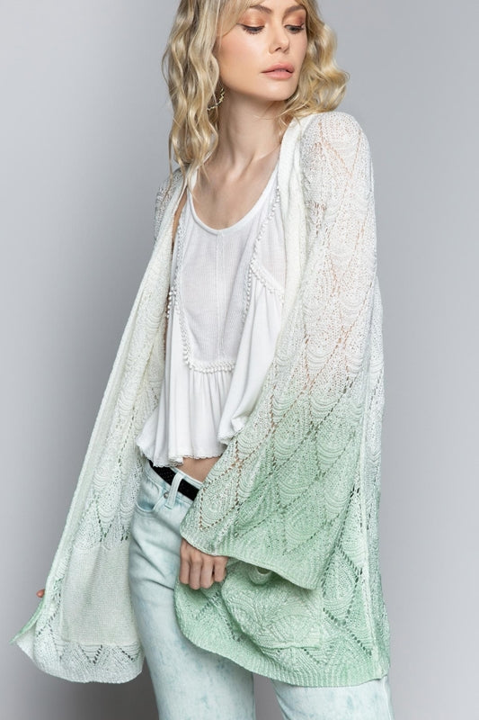 POL Feeling the Breeze in Pistachio-Ombre Cardigan