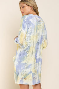 POL Splash of Color Hand Dyed Kimono Cardigan