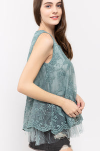 Blue Sage Tulle Tunic Top