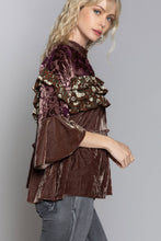 Load image into Gallery viewer, Jules Cocoa & Velvet Ruffle Top