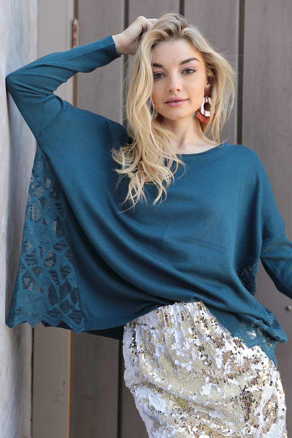 Midnight Blue Teal Boho Lace Panel Sweater