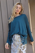 Load image into Gallery viewer, Midnight Blue Teal Boho Lace Panel Sweater
