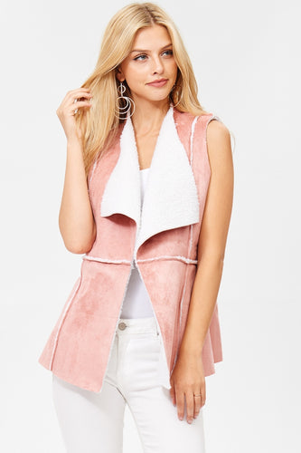 Classic Pink Sherpa Suede Vest