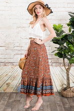 Load image into Gallery viewer, Autumn Rust Bohemian Free Spirit Maxi Skirt