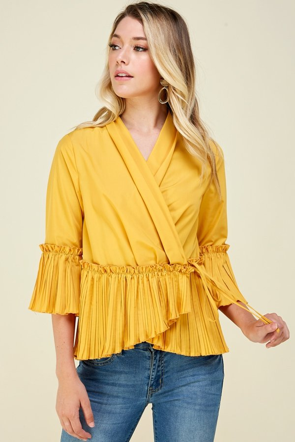 Josie Wrap & Pleating Top