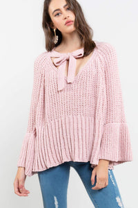 Canyon Rose Big Bow & Bell Sleeves Sweater