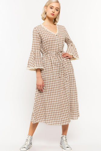 Mollie Farms Prairie Gingham Linen Dress