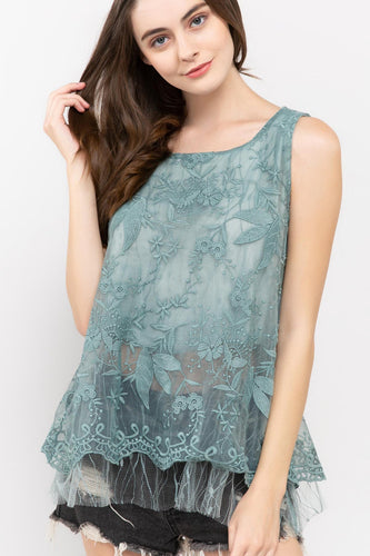 Tiffany Blue Sage Tulle Tunic Top